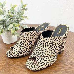 Qupid Cheetah Print Peep Toe Chunky Mule Heel